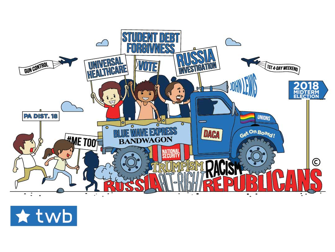 Colorful Blue Wave Express Bandwagon loaded with issues headed toward 2018 Midterms